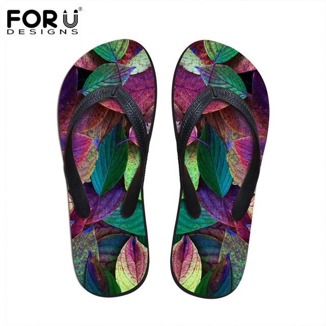 caa881171bf4e6 FORUDESIGNS Fashion Women Rubber Flip Flops Flowers Printed Summer Slippers  Female Flat Sandals Shoes Ladies Beach Flipflops