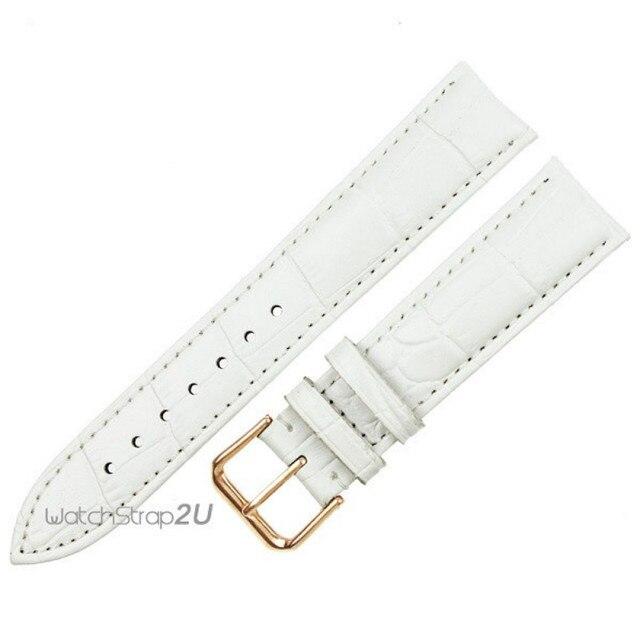 Alligator Crocodile Grain Genuine Leather Watch Band Strap Rose Gold White 12mm