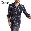 Moda Primavera dos homens Regular Fit Aves Imprimir Camisa de Manga Longa Casual Vestido de Camisa camisa masculina Elegante Camisa de Algodão M-XXL
