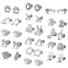 Multiple Silver Stainless Steel Cute Stud Earrings for Women Girls 2018 Fashion Minimalist Earrings Carnations Jewlery Gifts