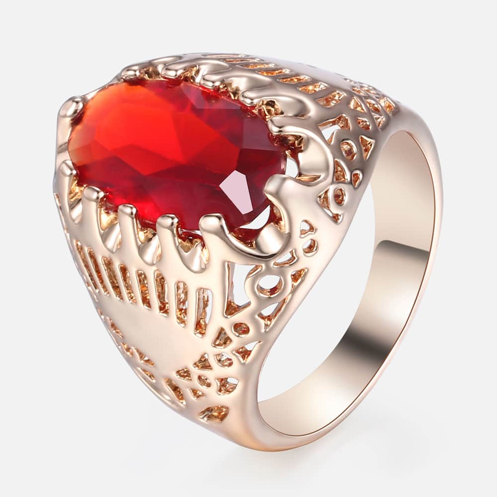 Red Cubic Zircon CZ Ring For Women 585 Rose Gold Wedding Engagement Ring