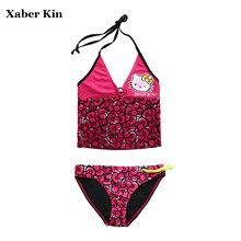 Large Size Girls Swimsuits Hello Kitty Swimwear Two-Piece Split Biquini Infantil Girls Tankini Suits Beach Wear