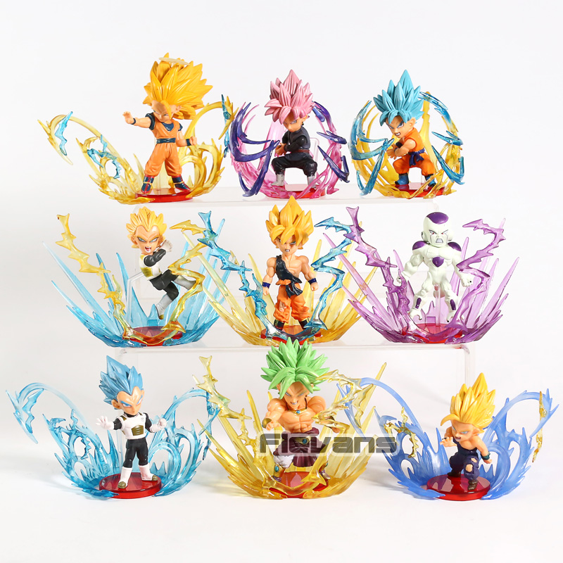 Dragon Ball Super éclaté WCF Super Saiyan bleu Rose Son Goku Gohan végéta Freeza Broly PVC figurines à collectionner modèle jouet 9 pièces/ensemble