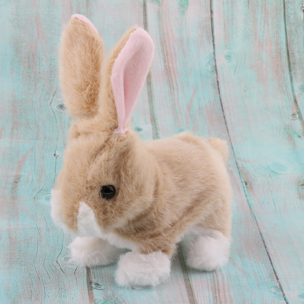 Smart Electronic Interactive Jumping Rabbit Pet Soft Plush Animal Robot Kids Baby Toys Walk Jump & Waggle Ears Nose