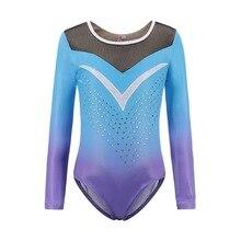 Children's Ballet Gymnastics Suit Dance Practice Clothes Dance Clothes Girls Long Sleeve Diamond Pattern Body Suit