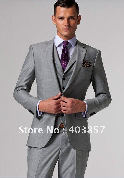 Design Men Suit Custom Made Slim Fit Dress Light Grey 3 Pieces Elegant Ms0241 In Blazers From S Clothing Accessories