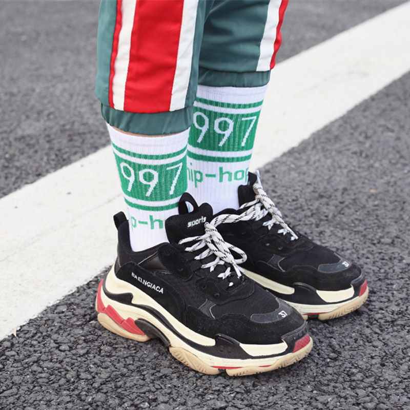New Original Design Korean Version of Harajuku Fashion Brand Hiphop Long   Socks   1997 Street Hip Hop Couple Skateboard   Socks