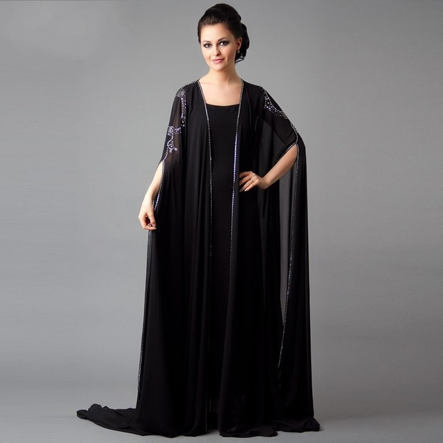Simple black Dubai Kaftan evening gown long sleeves floor length Abaya Prom  Chiffon Mother of the Bride Dresses with hacket a506037a5846