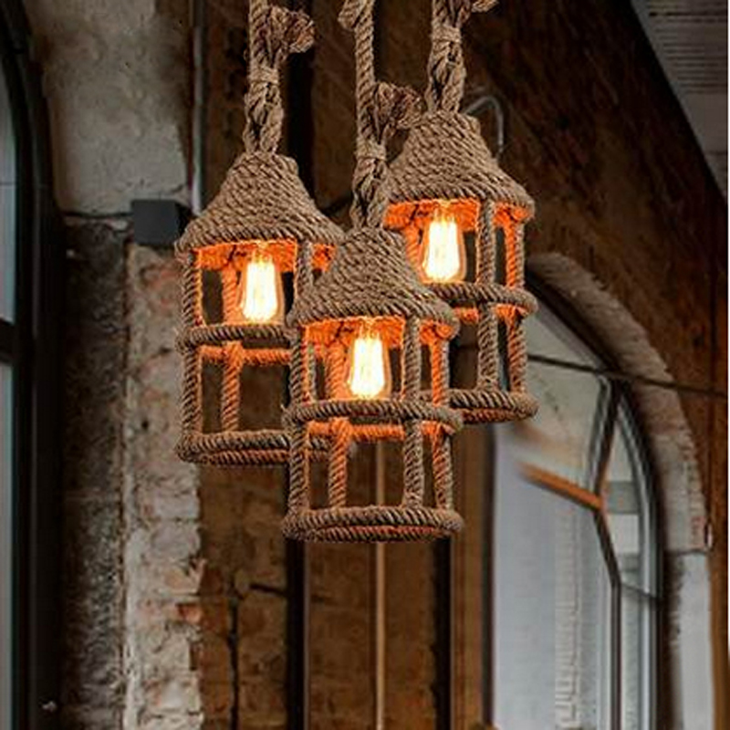 American country wrought iron rope lights loft creative personality retro restaurant bar cafe bar small chandelier the cafe shop vintage clothing store small chandelier bar loft iron chandelier geometry character