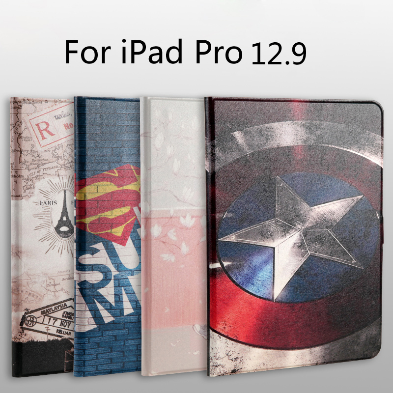 Fashion painted Pu leather stand holder Cover Case For iPad Pro 12.9 inch tablet + Film + Stylus