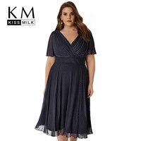 Kissmilk Plus Size Women Office Lady Casual Dot Print Wrap V Neck Dress Short Sleeve High Waist Midi A Line Dress 3XL 7XL