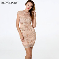 BLINGSTORY Bead Mesh Women Dresses Patchwork See Through Sleeveless Club Robe Vintage 1920s Gatsby Sequin Dress Party Dropship