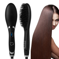 Professional LED Hair Straightening Comb Brush Electrical Heated Styling Anion Care Anti Scald YF2018