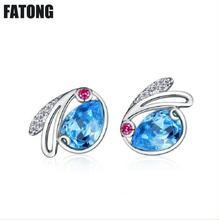 925 sterling silver blue crystal rabbit earrings ladies simple jewelry factory direct sales. J0180