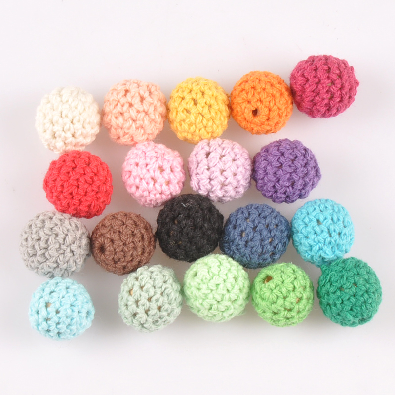 20pcs 16mm Mix color Crochet Beads Woolen Yarn For Choose Knitted By Cotton Thread for Jewellery Making MT2089