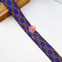 3.3cm 33mm 1 3/8'' Blue Gold Shinny Rhombus Triangle Ethnic Lace Trim Laciness National Jacquard Ribbon Embroidery Woven Webbing