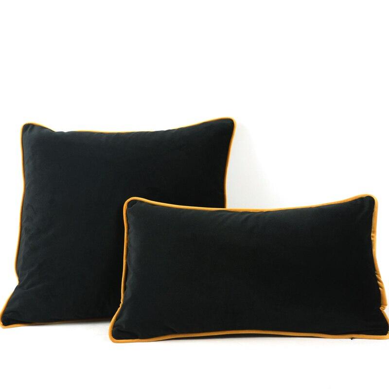Fodera Per Cuscino In Velluto Nero Bordo Giallo Marrone Fodera Per Cuscino Sedia Divano Fodera Per Cuscino Senza Decorazioni Per La Casa Senza Imbottitura Cushion Cover Aliexpress