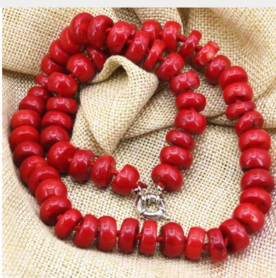 for Women jewelry choker anime gem natural coral stone abacus 8*12mm beads statement women necklaces