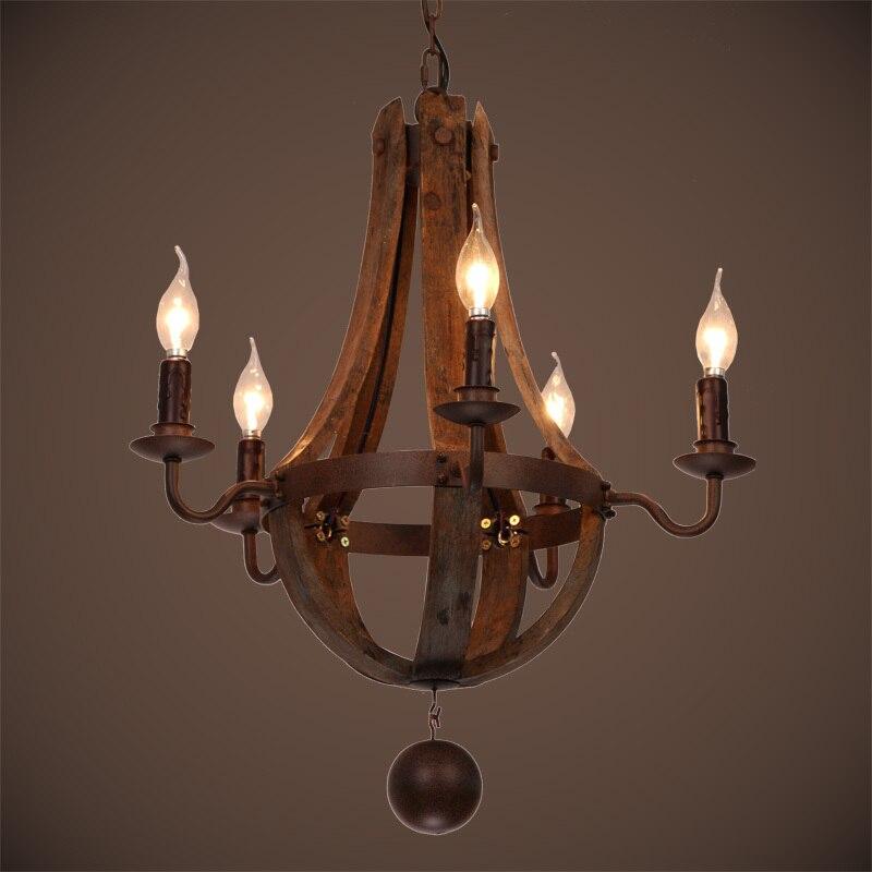 Ecolight Free Shipping Vintage Chandeliers 5 Lights Wood Chandelier Lamp Loft Light Retro Light D50 H60CM in Chandeliers from Lights Lighting
