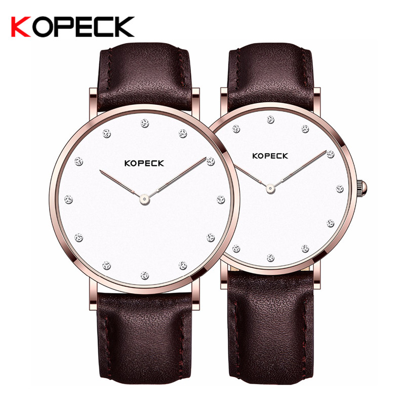 Kopeck New Men Women Business Couple Watch Genuine Leather Band Stainless Steel Wrist Watches Brand Lovers Watch Rannekello