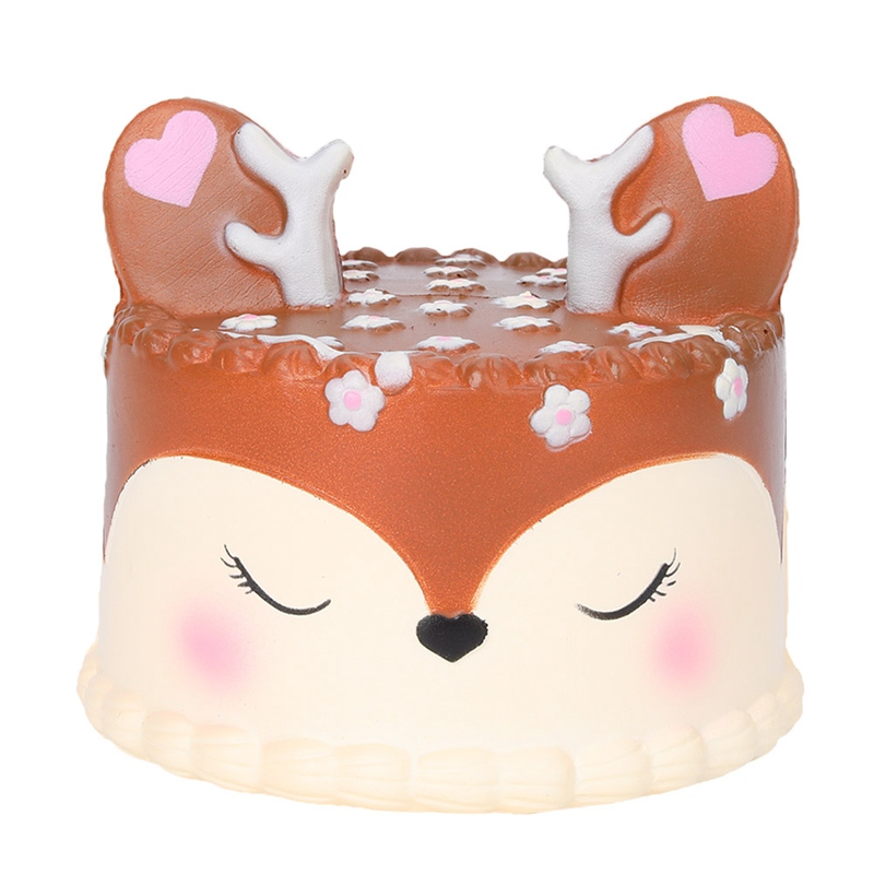 Slow-Rebound Fawn Cake Squishy PU Fawn Cake Simulation Cake Toys