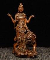 Свадебные украшения 7 Китай буддизм Самшит Дерево львиных 4 руки Kwan Гуань Инь статуя Будды