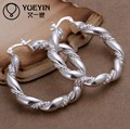 wholesale Women Jewelry 925 silver jewelry Twisted rope earrings  Fashion charm design compatible with endeli Crystal earrings