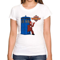 Funny style women doctor who cartoon printed t shirt short sleeve casual customized lady tops novelty slim tee shirts