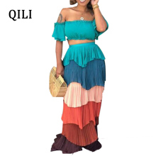 цены QILI New Arrivals Bandage Dress for Women Off Shoulder Cascading Ruffles Two Piece Dresses Fashion Casual Party Long Dress