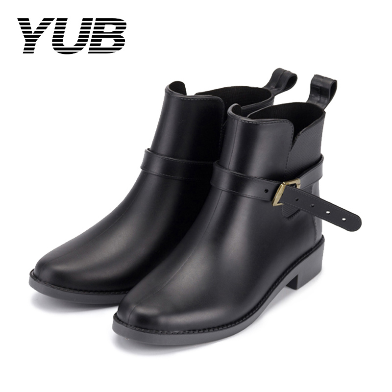 YUB Brand Rain Boots Women's Elastic Band with Waterproof Short Ankle Boots PVC Women Rubber Water Shoes Size 6-9 flowers purple elegant female boots gaotong water shoes rain shoes rubber shoes rubber rainboots