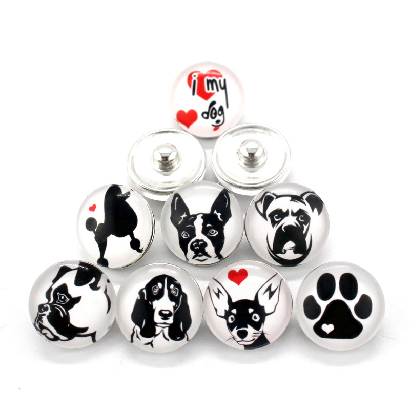 10pcs/lot Mixs I Love My Dog Snap Button 18mm Glass Round Interchangeable Snap Charms Fit Snaps Bracelet Bangles For Man Women image