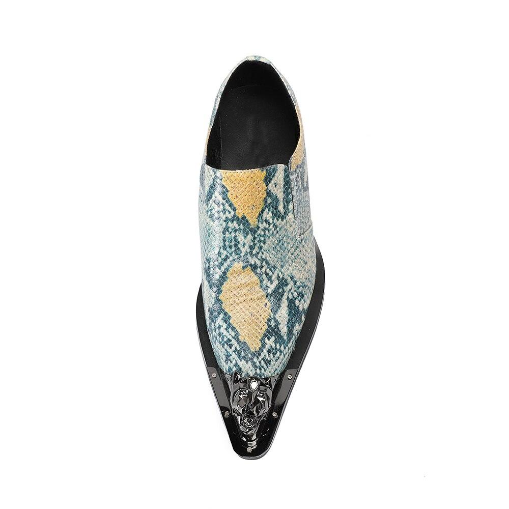 Impressão Casamento Sapatos Do Couro De Casuais Festa Dos Metal Cobra Homens Apartamentos Pé Itália Dedo Design Moda Da Brilhante Ouro Rosto Mocassins Genuíno 6Rp6nBO0wq