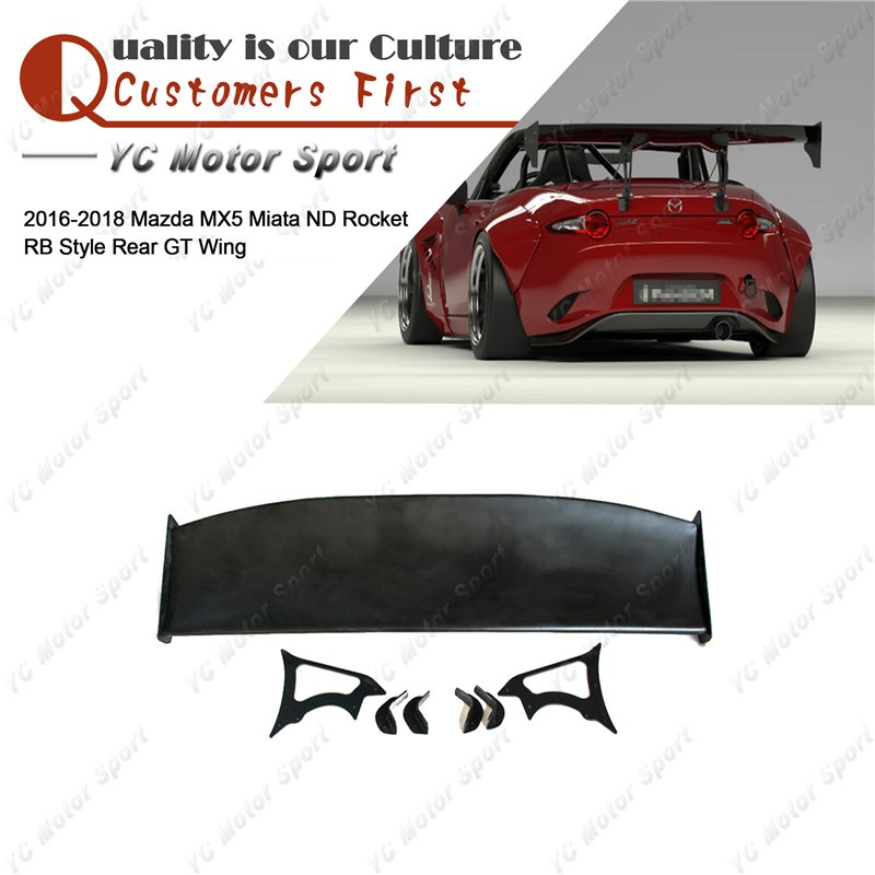 Car Accessories FRP Fiber Glass PD Style Trunk GT Wing Fit For 2016-2018 <font><b>MX5</b></font> Miata ND RB <font><b>Rear</b></font> <font><b>Spoiler</b></font> Wing image