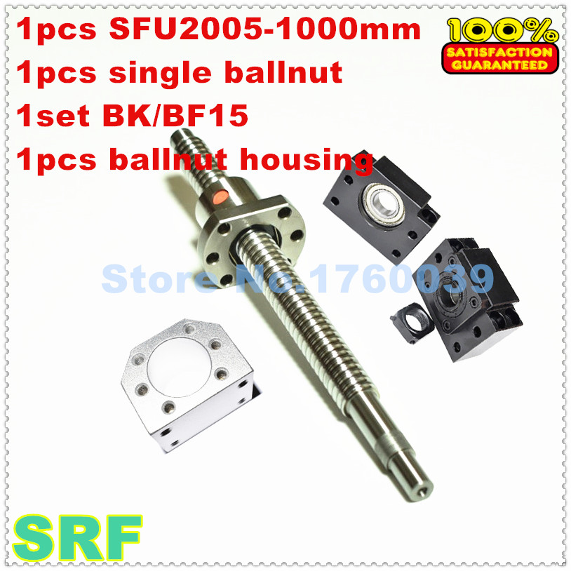 20mm Rolled Ballscrew 2005 set:1pcs SFU2005 L=1000mm+1pcs single ballnut+1pcs BK/BF15 end support+1pcs 2005 ballnut housing