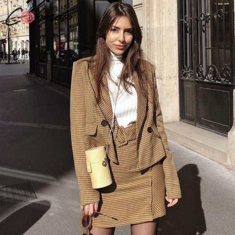 Conmoto Women Fashion Plaid Blazer Skirt Suit Female 2019 Autumn Winter Short Blazer Jacket Business Skirts Set Office Clothes
