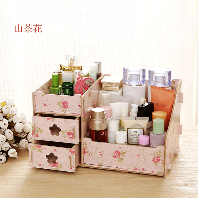 Hwint DIY Wooden Storage Box Cosmetic Organizer Boxes Bins Home Decoration Jewelry