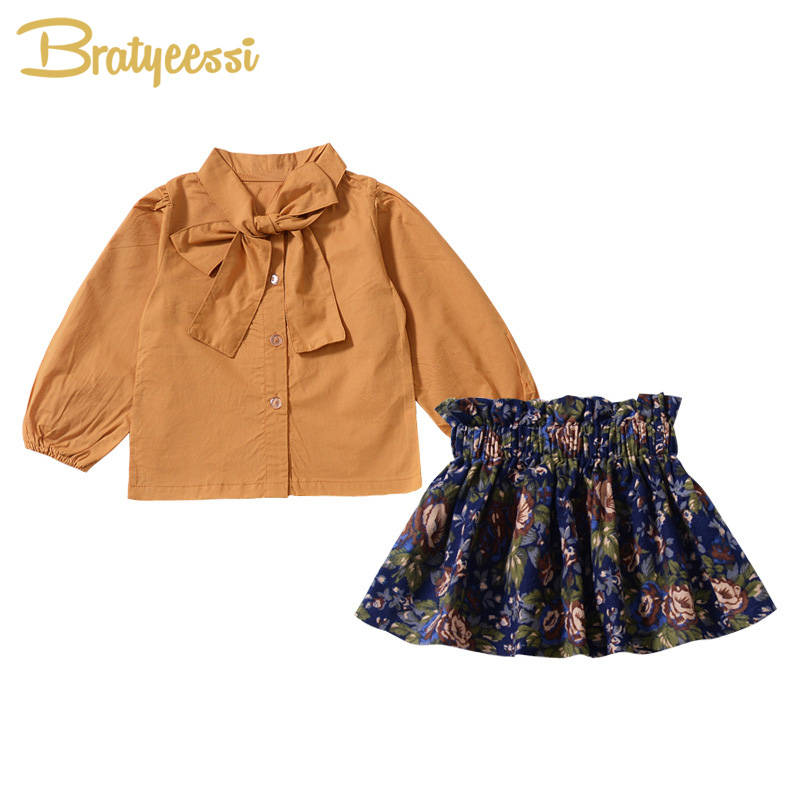 Fashion 2018 Baby Girl Clothes Set Cotton Bow T-Shirt Blouse and Print Skirts Kids Clothes Spring Autumn Infant Baby Clothing dinstry infant clothing spring children s clothing 0 1 2 3 year old baby clothes spring and autumn t shirt romper 2pieces sets