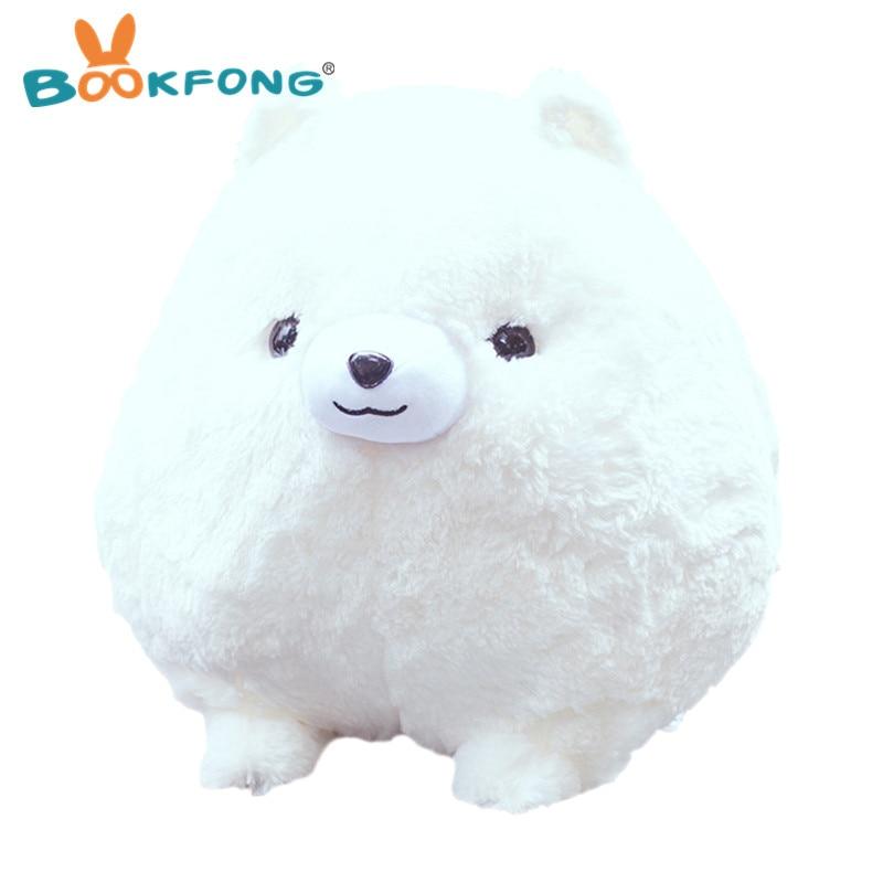 BOOKFONG 1PC Cute Simulation Pomeranian Plush Doll Toy Soft Stuffed Animal Pomeranian Dog Toy Lovely Gift Toys for Kid 30cm 45cm
