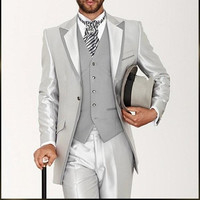 Latest Coat Pant Designs Silver Grey Satin Italian Men Suit Classic Mens Suits Prom Tuxedos Gentle Custom 3 Pieces Vestidos suit