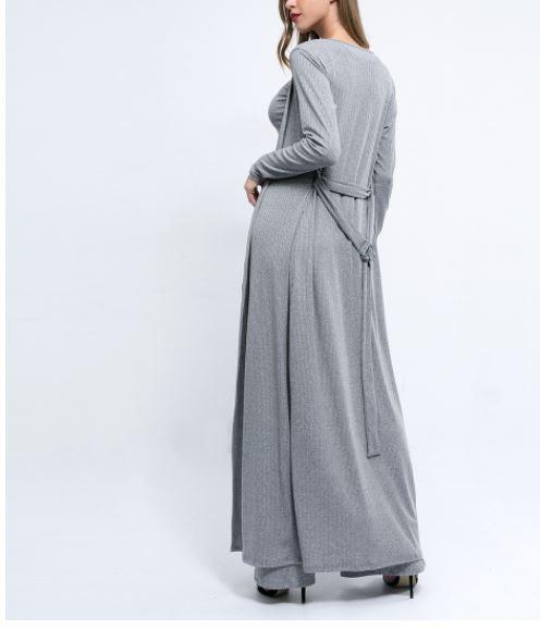 Mode Large Décontracté Tricots Pièces Veste Femmes Cardigan Manches 3 Split Long À Ensemble Costume Pantalon Jambe Longues De qpROxTTEw
