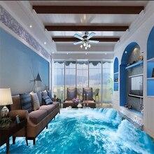 3D mural waterfall waterproof floor wallpaper