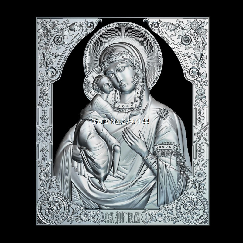 Theodore Icon Of The Mother Of God 3D Model Relief Figure STL Format Religion 3d Model Relief  For Cnc In STL File Format