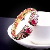 Hot Sale National Style Red Gems Luxury Bracelet Silver Bangle S925 Pure Silver Bracelet Classic Silver Beautiful Bracelets