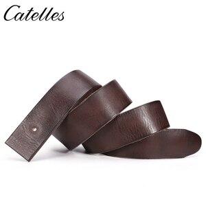 Image 3 - Catelles Cinturón de cuero genuino sin hebilla para hombre, cinturón masculino de diseño de alta calidad, sin Pin