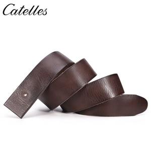 Image 3 - Catelles なしバックル本革ベルトメンズなしピンバックルストラップ男性ジーンズデザイナーベルト男性ベルト高品質