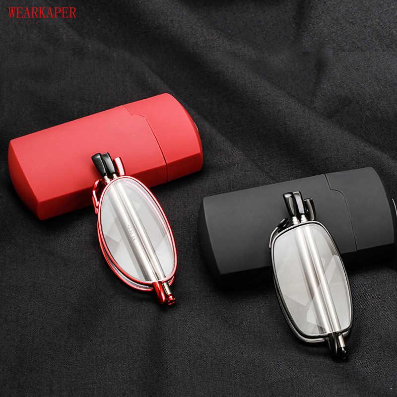 e5c973087b1 WEARKAPER Titanium Alloy Frame Folding Magnifying Compact Reading Glasses  Women Men Reader Mini Hard Case Diopters