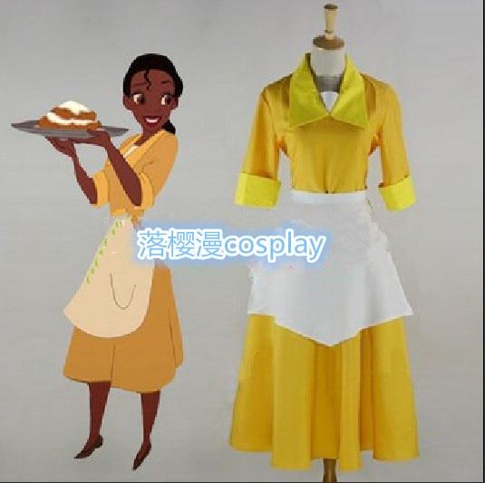 The Princess and the Frog Tiana Yellow Waitress Dress Uniform Halloween Cosplay Costume Custom Made