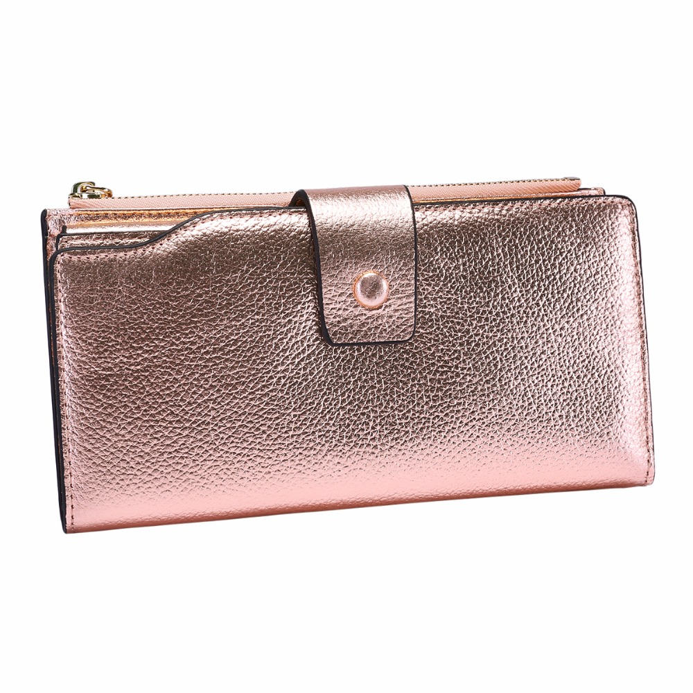 Купить с кэшбэком ITSLIFE 2019 Women Genuine Leather RFID Blocking Functional Wallet Zipper Long Glint Card Holder Ladies Coin Purse Iphone