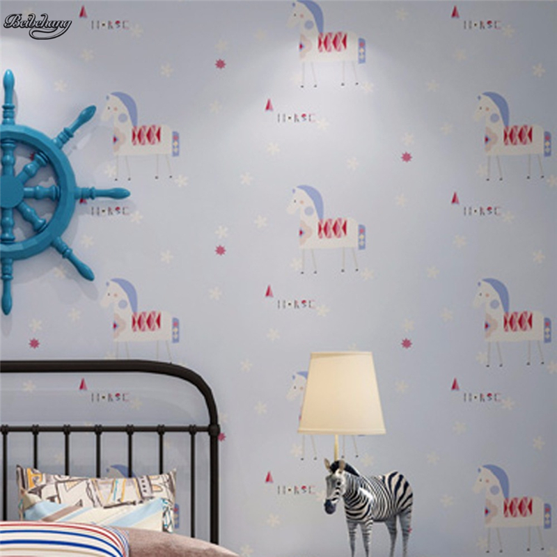 beibehang Environmental nonwovens children's room wallpaper cartoon pony cute warm bedroom boy girl Trojan wallpaper beibehang environmental non woven boy girl warm cartoon children s room blue sky clouds balloon wallpaper