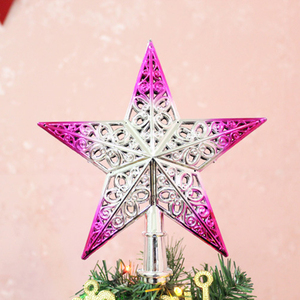 Image 5 - Cute Colorful Star Christmas Tree Top hollow five pointed stars Sparkle Hang Xmas Decoration Ornament Treetop Topper Dimensional